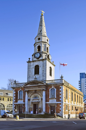 southwark: London, United Kingdom - January 15th 2016: Unidentified people and church St George the Martyr in Southwark Editorial
