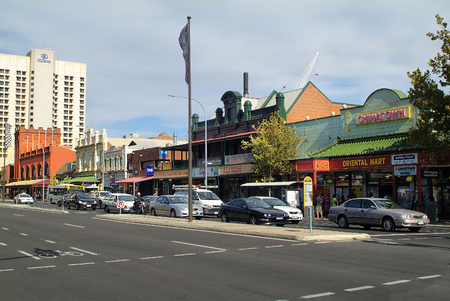 adelaide: Adelaide, Australia - January 30th 2008: Grote Street with Hotel and China Town Market with different shops in the capital of South Australia Editorial