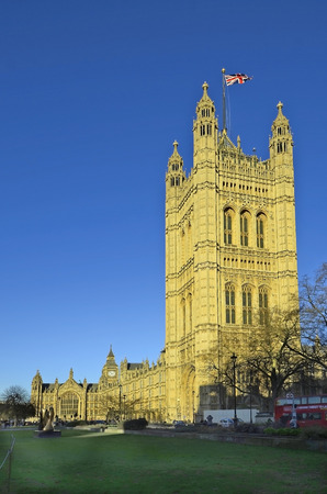 houses of parliament: London, United Kingdom - January 15th 2016: Unidentified people and Houses of Parliament with Big Ben Editorial
