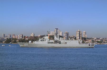 port jackson: Sydney, Australia - May 10th 2010: Worship of Australian navy in Port Jackson, buildings on darling point behind