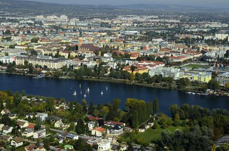 alte: Austria, view over Alte Donau lake to Floridsdorf district in Vienna Stock Photo