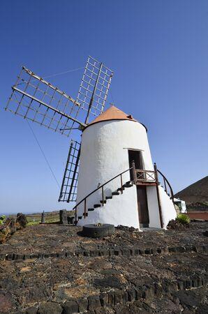 lanzarote: windmill in Guatiza, Lanzarote, Spain Stock Photo