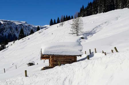 snow covered mountain: Austria, snow covered mountain cabin