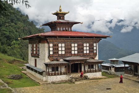 gompa: Bhutan, monks at Ngamthrang Gompa in Ngatsang