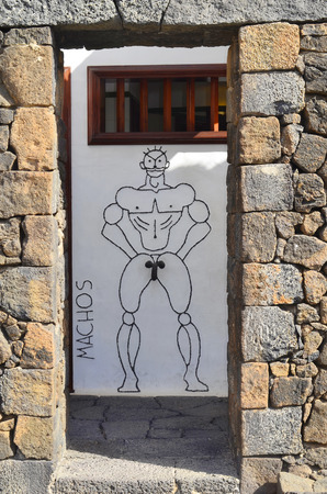 tourist attraction: funny design for toilets in the Jardin de Cactus-garden of cactus - a tourist attraction built from Cesar Manrique the most importand artist of Lanzarote