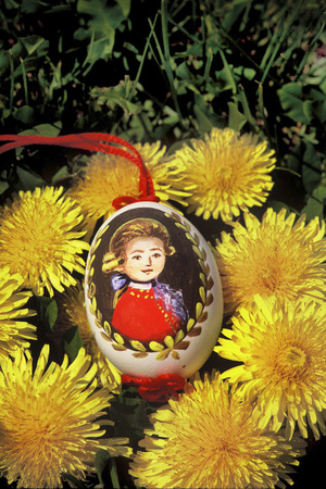 mozart: handpainted easter egg with W.A. Mozart picture Stock Photo
