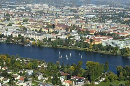 alte: Austria, sailing boats on Alte Donau -old danube lake- and Floridsdorf precinct