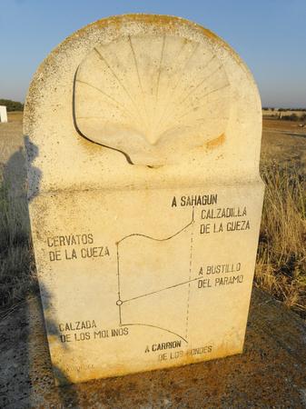 camino: Spain, signpost on Camino de Santiago trail