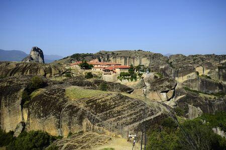 kalambaka: Greece, Meteora, Monastery Agia Triada Stock Photo