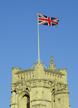 great britain: Great Britain, London, Union Jack on top of Victoria Tower Stock Photo