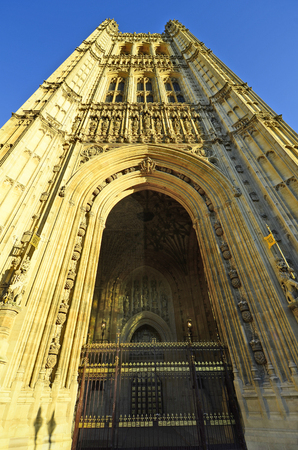 houses of parliament: Great Britain, London, Houses of Parliament, Victoria Tower Stock Photo