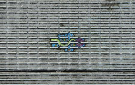 millennium bridge: Great Britain, London, miniature paintings on floor of Millennium bridge Editorial