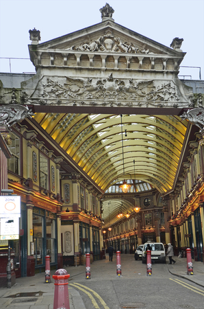 arcade: London, United Kingdom - January 17th 2016: Unidentified people in Shopping Arcade Leadenhall Market in Tower Hill district