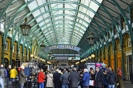 covent garden market: London, United Kingdom - January 16th 2016: Unidentified people in public Covent Garden market hall