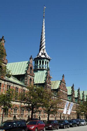 dragon vertical: Copenhagen, Denmark - June 23rd 2009: Old stock exchange building with dragon tails on top