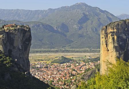 kalambaka: Greece, Meteora, monastery Holy Trinity and Kalambaka village