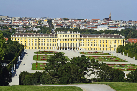 habsburg: Vienna, Austria, former Habsburg monarchy castle Schoenbrunn,  preferred tourist attraction and recreational park in Vienna, film location for different national and international movies