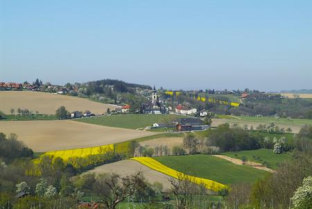 homesteads: Austria, flowering rape fields and apple trees around the village Scharten in Upper Austria