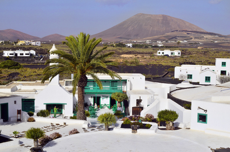 manrique: Mozaga, Spain - January 19th 2012: Casa Museo al Campesino, Restaurant in traditional green and white colors designed from the most importand artist of Lanzarote - Cesar Manrique