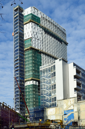 centrepoint tower: London, United Kingdom - January 19th 2016: Construction activity and rebuilding of Centrepoint tower in Soho