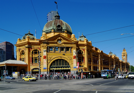flinders: Australia, Flinders Street Station in Melbourne Editorial