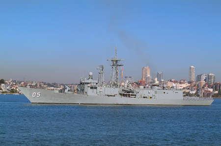 port jackson: Sydney, Australia - May 10th 2010: Warship of Australian navy in Port Jackson harbor