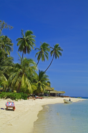 Beach on Plantation Island Resort on a Fiji Island Standard-Bild