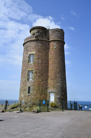watchtower: France, Brittany, old watchtower at Cap Frehel Stock Photo