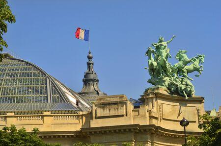 academie: Paris, France, sculptures and tricolore on roof of Academie Nationale de Musique