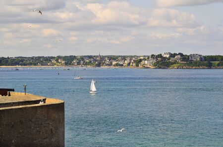 st  malo: France, Brittany, St. Malo town wall with view to Dinard Village Stock Photo