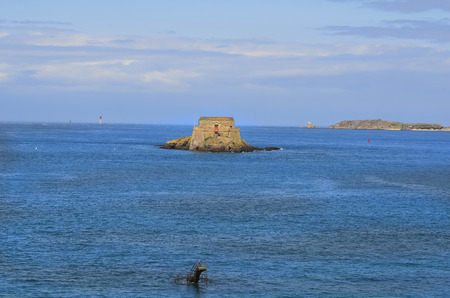 st malo: France, Brittany, St.Malo, Fort Du Petit-Be, in foreground a diving platform from a pool that can be use only by low tide