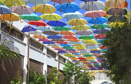 sun protection: Cyprus - colorful umbrellas for sun protection Stock Photo
