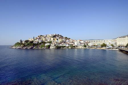 Greece, Kavala, medieval aqueduct Kamares, wharf and buildings on Panaghia peninsula