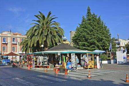 traditional goods: Kavala, Greece - September 17th 2015: Traditional kiosk for drinks, goods and souveniers in the city in Eastmacedonie