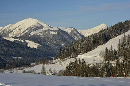 tyrol: Austria, railway in winter landscape in Tyrol Stock Photo