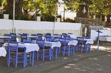 thassos: Greece, restaurant with blue tables and chairs in Thassos