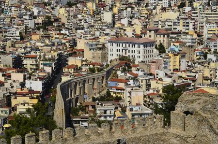 aqueduct: Greece, Kavala, ancient aqueduct Kamares and view to city