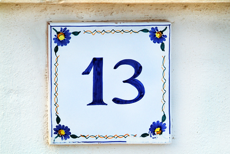 unlucky: Italy, unlucky number 13 on a home in Puglia
