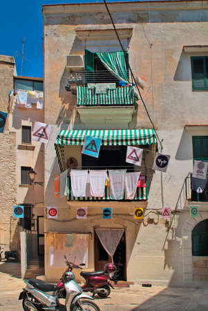 bari: Italy, home and decorated street in Bari Stock Photo