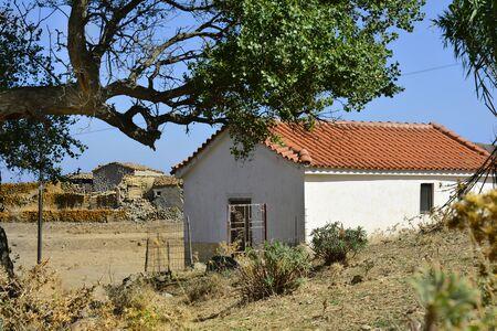 farmstead: Greece, small chapel and ratty farmstead on Lemnos Island Stock Photo