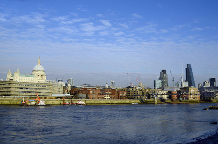 cheese grater: Great Britain, London, river Thames with St. Pauls cathedral, B42 tower, Cheese grater and different buildings Editorial