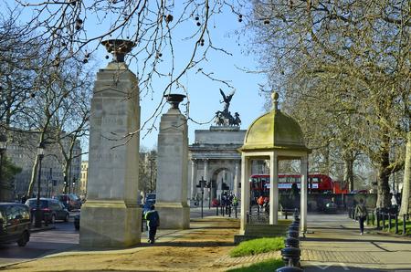 wellington: London, United Kingdom - January 19th 2016: Unidentified people, memorial gates and Wellington arch