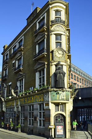 blackfriars bridge: London, United Kingdom - January 19th 2016: Traditional pub - The Black Friar - at Blackfriars bridge Editorial