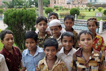 dhaka: Dhaka, Bangladesh - September 17th 2009: Unidentified young and friendly looking Bengali inhabitants