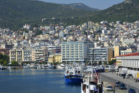 18th: Kavala, Greece - September 18th 2015: Cityscape and traffic on ferry terminal in the harbor of the city in Eastmacedonia Editorial