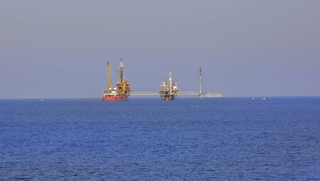 18th: Kavala, Greece - September 18th 2015: Oil platform in the Aegean sea between Kavala and Thasos island