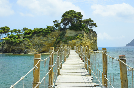 Footbridge: Greece, Zakynthos Island, footbridge to Cameo island Stock Photo