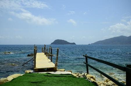 cameo: Greece, Zakynthos Island, web on Cameo island with view to Marathonissi island aka Turtle island Stock Photo
