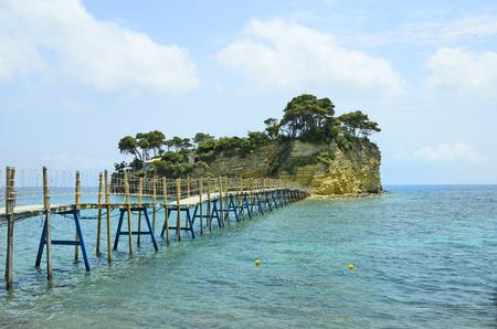 cameo: Greece, Zakynthos Island, footbridge to Cameo island Stock Photo