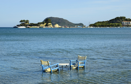 cameo: Greece, Zakynthos, funny place for relaxing in sea, islands Cameo and Marathonissi in background